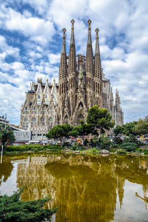 BARCELONA, SPAIN - MAY 17, 2014  Basilica and Expiatory Church of the Holy Family by Gaudi, building is begun in 1882 and completion is planned in 2030