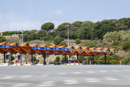gridlock: Customs toll road in Catalan Spain