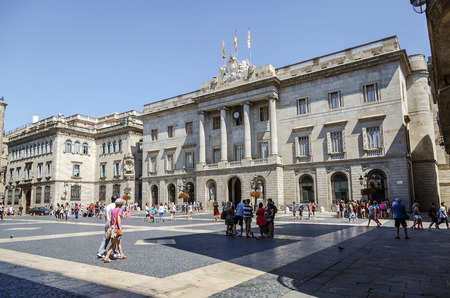 headquartered: BARCELONA, SPAIN - JULY 13, 2014  The city council on Barcelona, Spain  The Council is headquartered in St  James