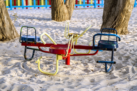 A colorful children playground on park photo
