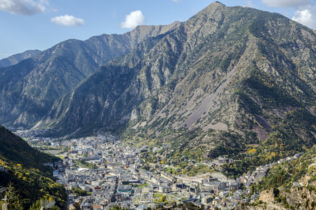 mountain valley: Panoramic Aerial view of the Andorra la Vella, Andorra