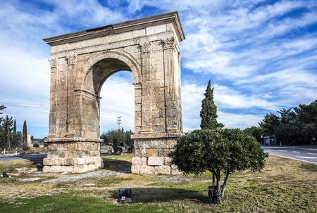 Triumphal arch of Bara in Tarragona, Catalonia, Spain.