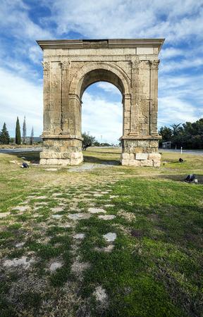 pilasters: Triumphal arch of Bara in Tarragona, Catalonia, Spain.
