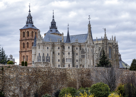Famous landmark Astorga Epsiscopal Palace, in Astorga, Leon, Spain. Stock Photo