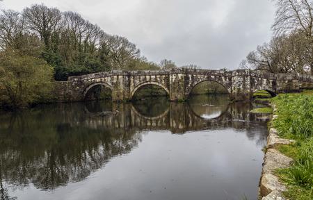 camino: Roman bridge in Brandomil, Camino de Santiago, A Galicia, Spain