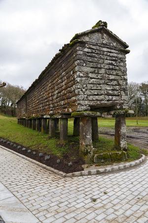 granary: Typical horreo (granary) in Bainas the province of A Coruna, Galicia, Spain