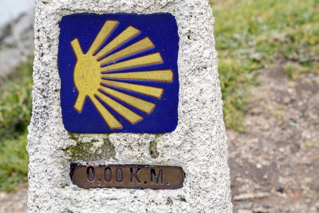 cope: 0 km in route to Santiago, cope of Finisterre, La Coruna, Spain