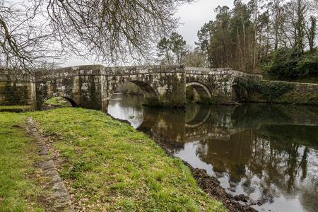 galicia: Roman bridge in Brandomil, Camino de Santiago, A Galicia, Spain