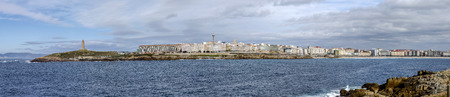 coastal city: Panoramic coastal city of A Coruna in Galicia. Spain Stock Photo