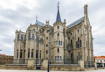 Famous landmark Astorga Epsiscopal Palace, in Astorga, Leon, Spain.