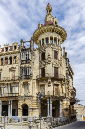 suggests: RIBADEO, SPAIN - MARCH 30, 2015: Torre de los Moreno. The house of the Moreno brothers, built in 1905 in an eclectic style. The decoration of the facade suggests Modernism and Neoclassical style.