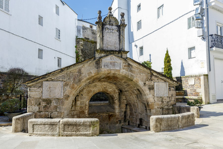Old antique fountain dates back to 1548 in Mondonedo, Lugo Spain
