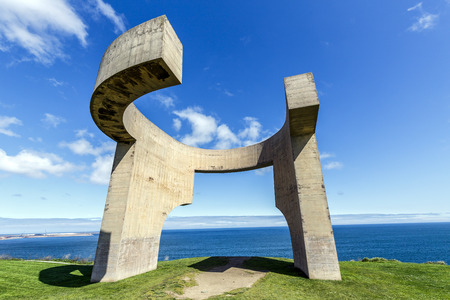 eduardo: Gijon, Spain - March 31, 2015: Eulogy of the Horizon in Gijon, Spain. Sculpture designed by Eduardo Chillida and it is one of the most recognized monuments in Gijon, Asturias. Editorial