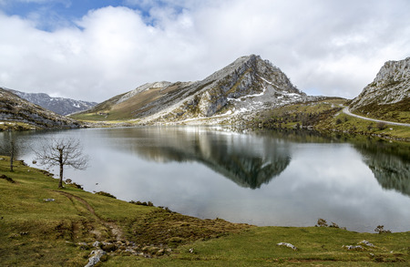 Fantastic lake Enol, one of the famous lakes of Covadonga, Asturias , Spain