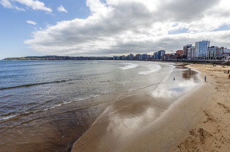 cantabrian: Panoramic view of Gijon, its beaches of the Cantabrian Sea north of Spain