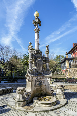 modernist: Source of the three pipes in Comillas Cantabria Spain. quotes modernist Stock Photo