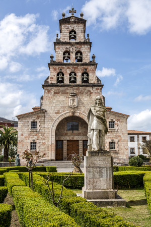 mountin: Church of the Assumption of Cangas de Onis, Asturias Spain and Statue of Don Pelayo, first king of Spain. Stock Photo