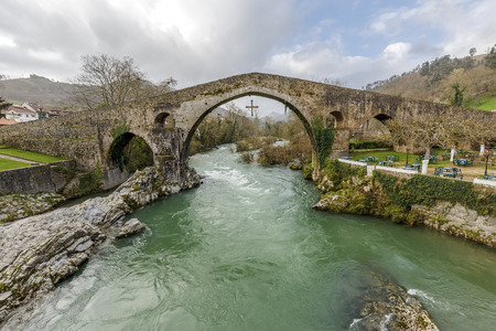 Old Roman stone bridge in Cangas de Onis, Spain