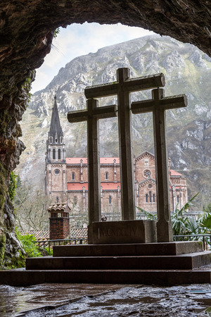 covadonga: Basilica of Our Lady of Battles, Covadonga, Asturias, Spain. Crosses from the holy cave