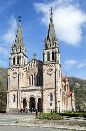 covadonga: Covadonga, Spain - April 01, 2015: Basilica of Santa Maria la Real of Covadonga, a famous church in the Picos de Europa, Asturias, Spain.