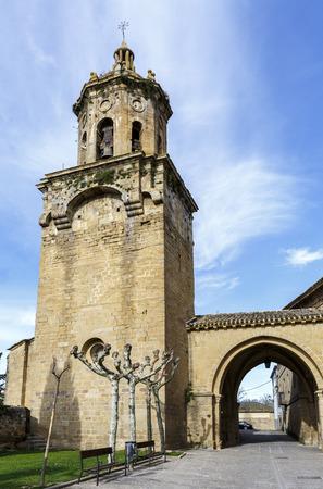 way of st  james: Church of the Crucifix. Puente la Reina, Navarra. Spain. XII century. St. James Way. Stock Photo