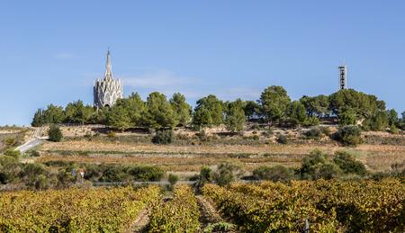 alt: Sanctuary of Montserrat in Montferri  Alt Camp, Tarragona province, Catalonia, Spain. By modernist architect Josep Maria Jujol Stock Photo