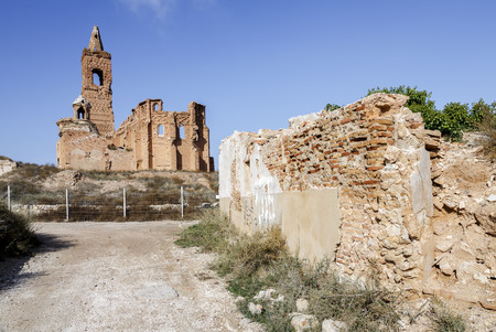 spanish civil war: Belchite is a town in the province of Zaragoza Spain. Is known to have been the scene of one of the symbolic battles of the Spanish Civil War, the Battle of Belchite. Now it is abandoned. Stock Photo