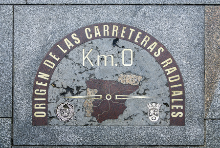 kilometre: detail of kilometre zero point in Puerta del Sol, Madrid, Spain Editorial