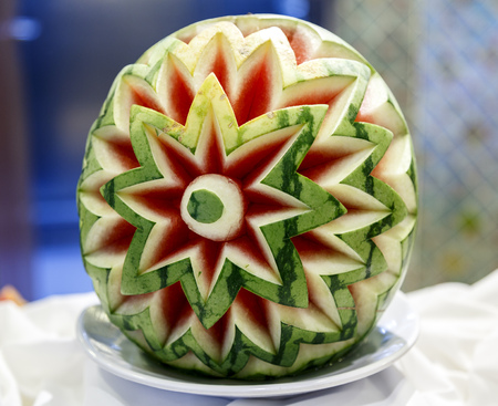 typical: cut watermelon decoration, typical restaurants and cruises ways Stock Photo