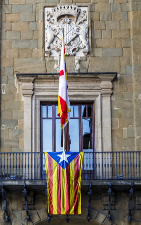 generalitat: Detail Estelada flag on the town hall balcony Vic, Catalonia Spain. Independence symbol. Editorial