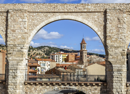 acueducto: The Aqueduct Arches in the city of Teruel, Spain. Spanish Renaissance. Stock Photo
