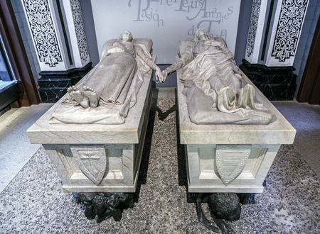 martinez: Teruel, Spain - March 11, 2016: Mausoleum of the lovers in the church of San Pedro de Teruel, work of Juan de Avalos. It tells the story of love between two young turolenses, Isabel de Segura and Juan Martinez de Marcilla