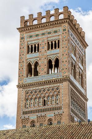 mudejar: Mudejar tower of the Church of El Salvador in Teruel, Spain. Stock Photo