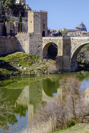 tage: Alcantara Bridge, over the river Tage, Toledo, Spain Stock Photo