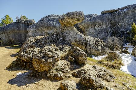 castilla la mancha: Image of Unique rock formations in enchanted city of Cuenca, Castilla la Mancha, Spain Stock Photo
