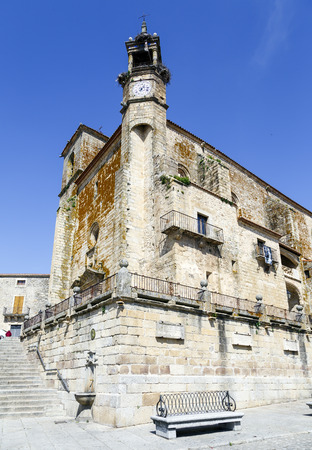 conquistador: Wide angle of Saint Martins church in Trujillo. Extremadura Spain Stock Photo
