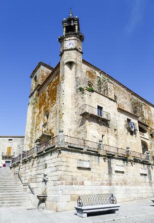 Wide angle of Saint Martins church in Trujillo. Extremadura Spain Stock Photo