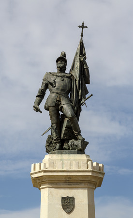 conquistador: Statue of Hernan Cortes, Mexico conqueror, Medellin, Extremadura Spain Stock Photo