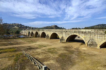 medellin: Medellin old bridge and castle from Guadiana riverside, Spain