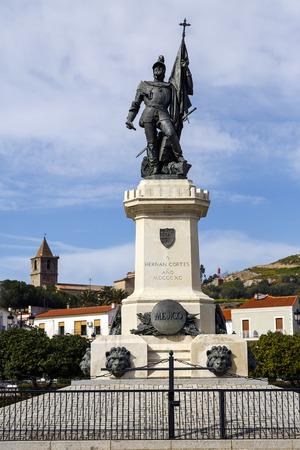 colonizer: Statue of Hernan Cortes, Mexico conqueror, Medellin, Extremadura Spain Stock Photo