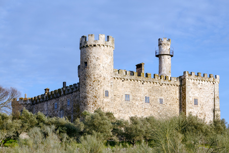 buttresses: Aldea del Cano Castle Caceres province of Caceres, Extremadura Spain