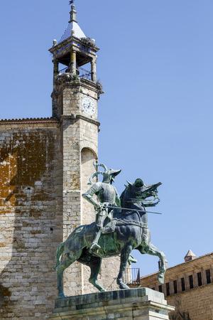 pizarro: Equestrian statue of Francisco Pizarro (conqueror of Peru) in Trujillo main square, province of Caceres, Spain