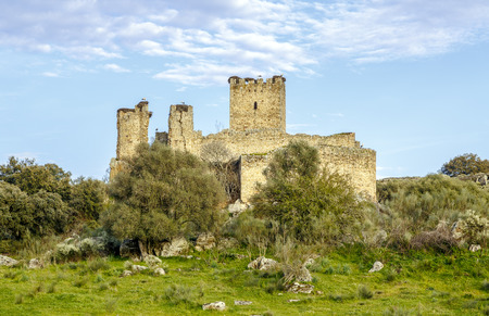 buttresses: Aldea del Cano Castle Mayoralgo province of Caceres, Extremadura Spain Editorial
