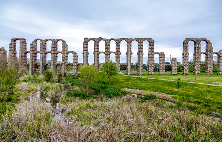 buttresses: view of Aqueduct of the Miracles in Merida, Extremadura Spain