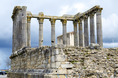 cult: Evora, Portugal. The iconic Roman Temple dedicated to the Emperor cult, wrongly considered as a Goddess Diana Temple,
