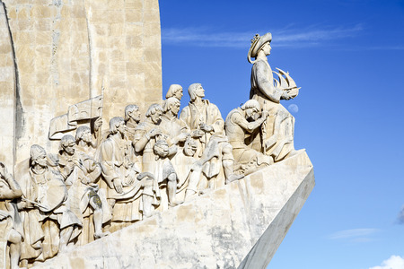 discovered: Monument to the Discoveries - white stone ship shaped monument hailing Prince Henry and the Portuguese that Discovered the Roads of the Sea, Portugal