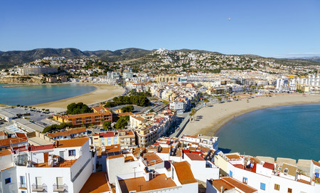 mediterranean coast: Two beaches in Peniscola, Castellon, Spain, View of this the Castle