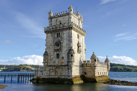 belem: Tower of Belem monument, an example of Manueline architecture in Belem, Portugal