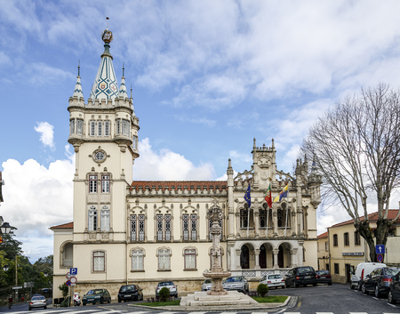 remarkable: Sintra, Portugal - March 20, 2016: Town Hall of Sintra (Camara Municipal de Sintra), remarkable building in Manueline style of architecture, built in 1910 on site of old Chapel of St. Sebastian.