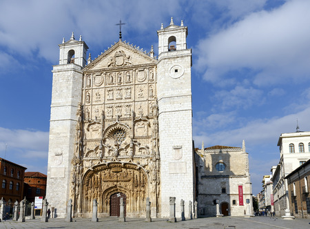plateresque: Valladolid, Spain - March 23, 2016: Facade of the San Pable Church (15th Century) in Valladolid, Castile and Leon, Spain.